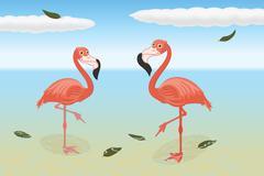 Stoic flamingos on the beach - stock illustration
