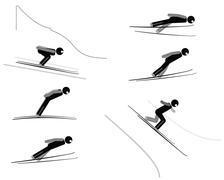 Stock Illustration of Ski jumping - pictogram set