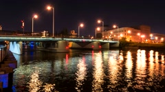 Beautiful Clear Night Milwaukee Wisconsin Lift Bridge Stock Footage
