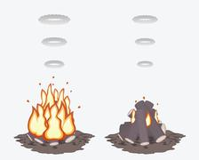 Well prepared campfires - stock illustration