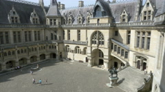 Interior courtyard of the Chateau de Pierrefonds - France Stock Footage