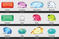 Stock Illustration of Collection of isolated gemstones by month, no gradients