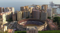 Malaga Bullring and Seaside Buildings Stock Footage