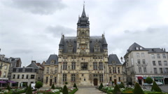 Place de l'Hotel de ville - City Hall - Compiegne France Stock Footage