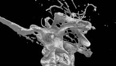 Close-up of bright metal splashing in super slow motion on bl., +alpha (FULL HD) Stock Footage