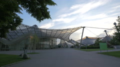 The Olympic Stadium at dusk in Munich Stock Footage