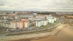 RUSSIA. Surgut - 2014: Aerial view of the City Stock Footage