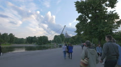 Walking in the Olympic Park in Munich Stock Footage