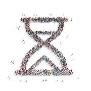 people  shape  hourglass group - stock illustration