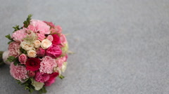 Bridal bouquet On a marble slab Stock Footage