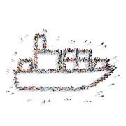 Stock Illustration of people  shape  tanker cartoon