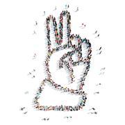 People  shape hand cartoon Stock Illustration