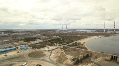 RUSSIA. Surgut - 2014: Aerial view of the Power Plant Stock Footage
