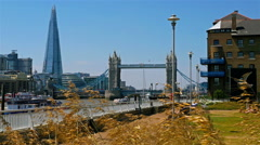 People relaxing in a park in London, Tower Bridge and Shard in the background Stock Footage