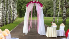 Wedding red archway Stock Footage