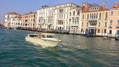 Small boat yacht float at Venice Grand Canal. uhd steadycam footage - stock footage