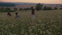 Kids cheerfully are running on the field - stock footage