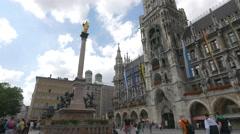 Mary's Column in Marienplatz, Munich Stock Footage