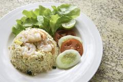 Fried rice with shrimp menu, Thai food Stock Photos