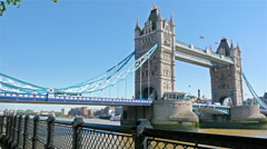 Woman photographer tourist taking photo on Tower Bridge, London Stock Footage