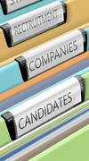 Files on candidates and company positions Stock Illustration