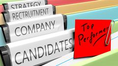 Files on top performer candidates for a company position - stock illustration