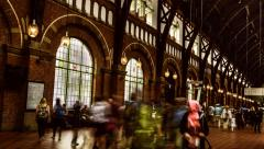 Copenhagen train station time lapse zoom in Stock Footage