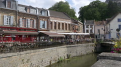Restaurants on the canal - Amiens France Stock Footage