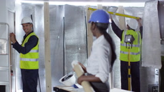 4k Portrait of smiling female engineer or architect at construction site Stock Footage