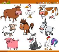 farm animals set cartoon illustration - stock illustration