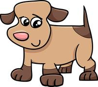 puppy dog cartoon illustration - stock illustration