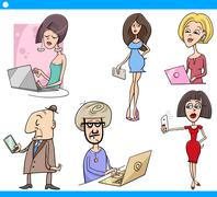 Stock Illustration of people and technology cartoon set