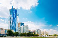 Business Center Royal Plaza -Skyscraper on Pobediteley Avenue in Minsk, Belar Stock Photos