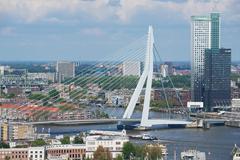 Aerial view to Erasmus bridge in Rotterdam, Netherlands. - stock photo