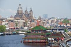 View to the city of Amsterdam, Netherlands. - stock photo
