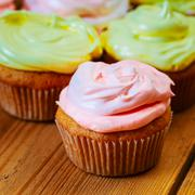 Dessert Sweet Gourmet Cupcakes With Multi-colored Frosting Stock Photos