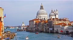Stock Video Footage of Venice, Accademia bridge view to boats floating at Canal Grande with basilirc