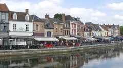 Restaurants & Cafes on Quai Belu - Amiens France Stock Footage