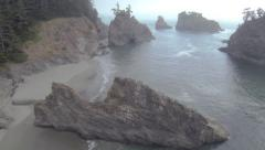 Aerial View: Beach Cove Stock Footage
