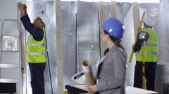 4k Portrait of smiling female engineer or architect at construction site - stock footage