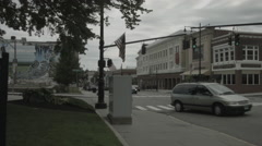 Downtown Torrington, CT Main Street intersection Stock Footage