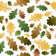 Oak leafs seamless pattern - stock illustration