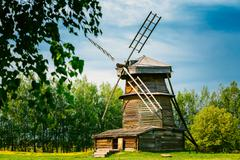Old Wooden Windmill in Suzdal, Russia. Summer Spring Season - stock photo