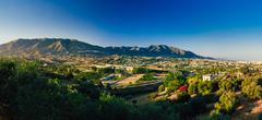 Panoramic View Of Cityscape Of Mijas in Malaga, Andalusia, Spain - stock photo