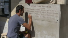 Sign Painter - Arras France Stock Footage
