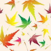 Stock Illustration of Maple leafs seamless pattern