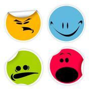 Labels with various smiles - stock illustration
