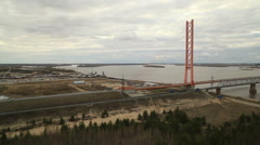 RUSSIA. Surgut - 2014: Aerial view of the cable-stayed bridge Stock Footage