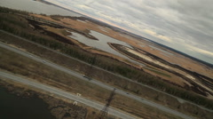 RUSSIA. Surgut - 2014: Aerial view of the bridge on the River Stock Footage