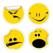 Set of yellow labels with smiles - stock illustration